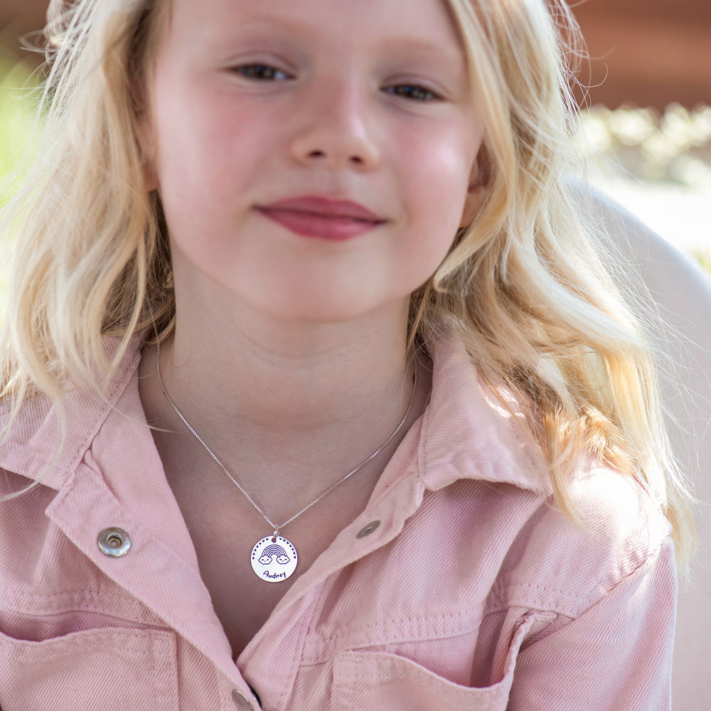 Halskæde til børn med tegning i sterlingsølv  - 4