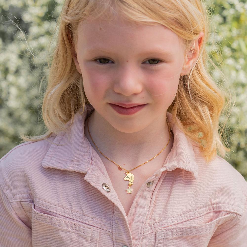 Enhjørning halskæde til piger - 18kt. forgyldt - 1
