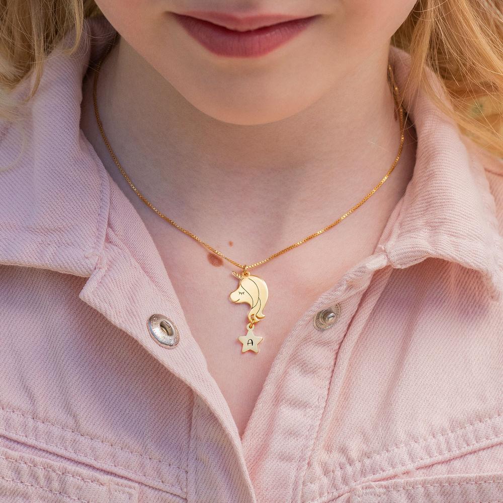Enhjørning halskæde til piger - 18kt. forgyldt - 2