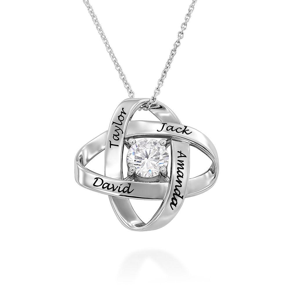 Sterling sølv indgraveret Eternal Cubic Zirconia halskæde