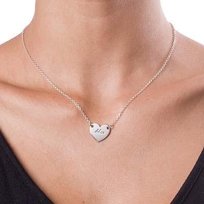 Graveret hjertesmykke i sølv - 1