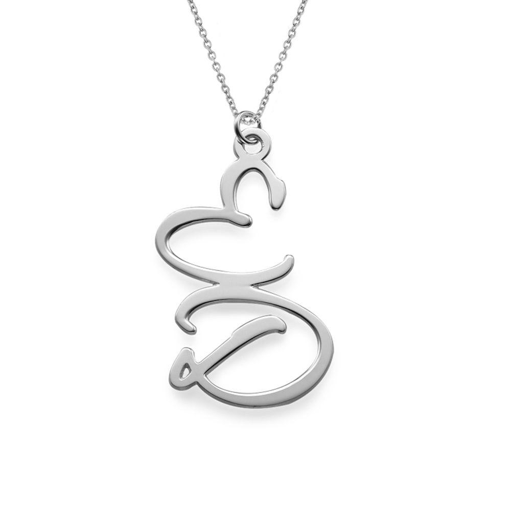 Bogstavhalskæde med to initialer i sølv - 1