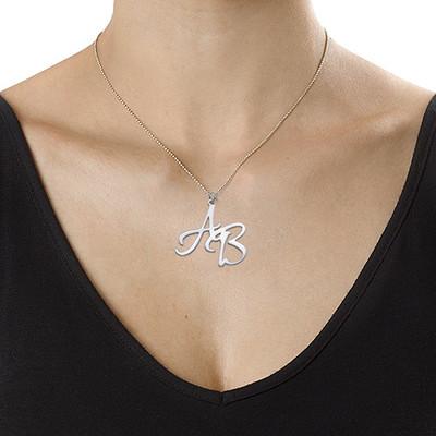 Bogstavhalskæde med to initialer i sølv - 2