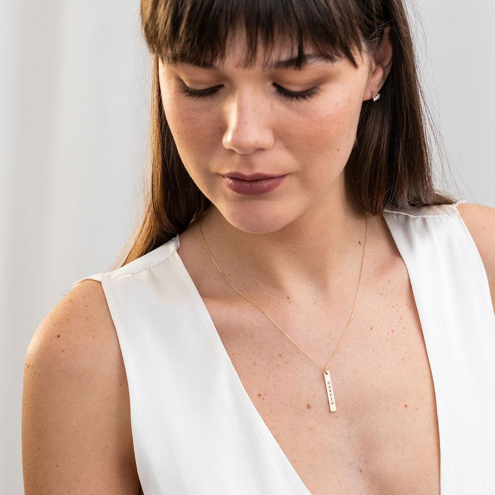 Navneplade halskæde med gravering i 10 karat guld - 2