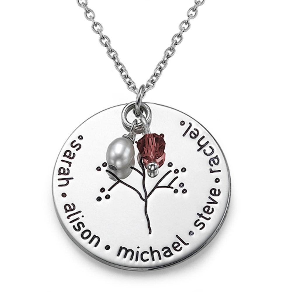 Halssmykke i sølv med familietræ