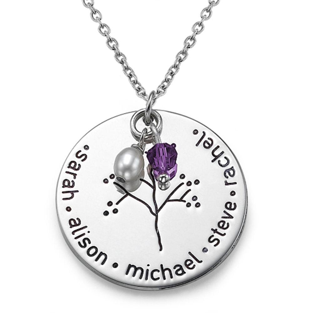 Halssmykke i sølv med familietræ - 1
