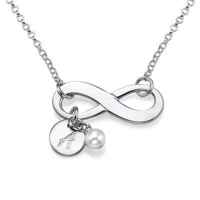 Infinity halskæde med bogstav og fødselssten i sølv