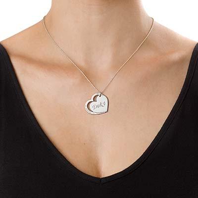 Halssmykke i sølv med familiehjerte - 1