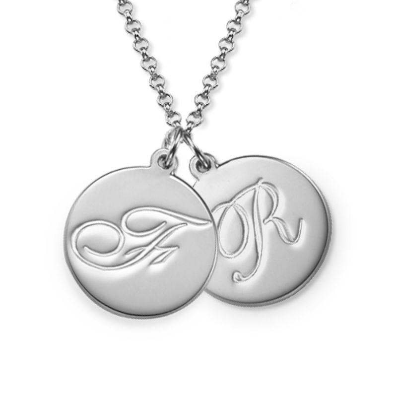 Initial halskæde med kursiv skrift i sølv - 1