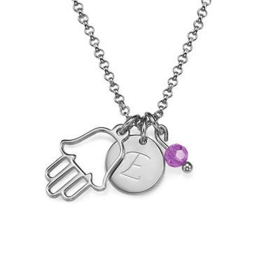 Hamsa hånd halskæde med bogstav vedhæng i sølv