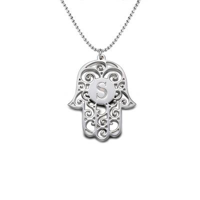 Hamsa hånd halskæde i sølv med personligt bogstav