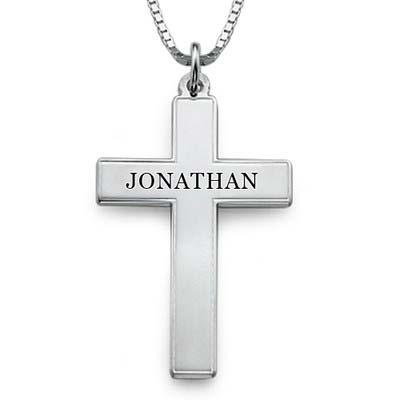 Kors halskæde til mænd med indgravering i sølv