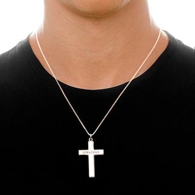 Kors halskæde til mænd med indgravering i sølv - 1