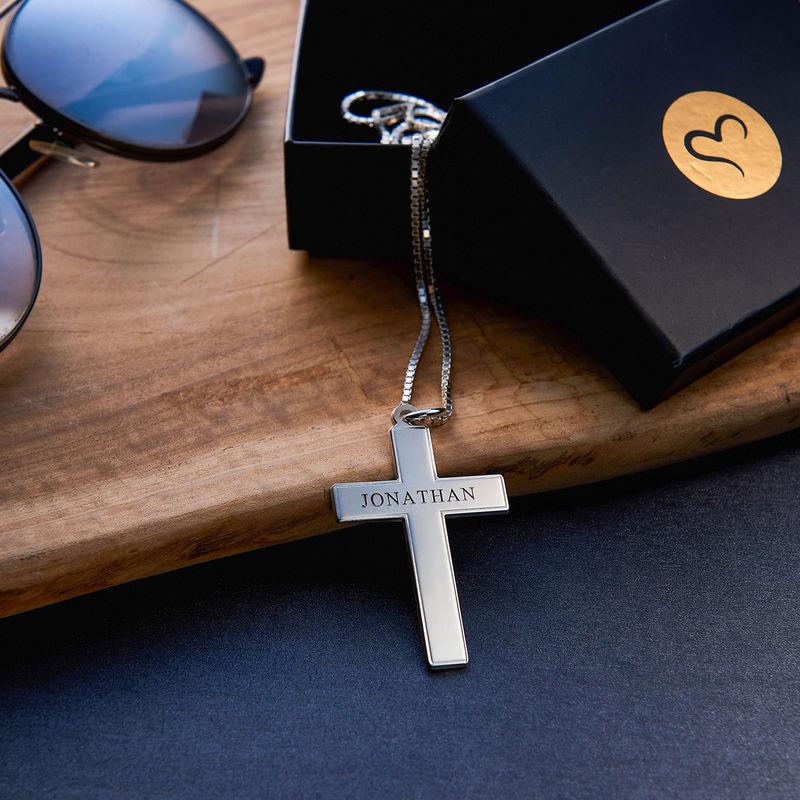 Kors halskæde til mænd med indgravering i sølv - 3