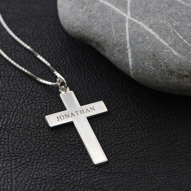 Kors halskæde til mænd med indgravering i sølv - 4