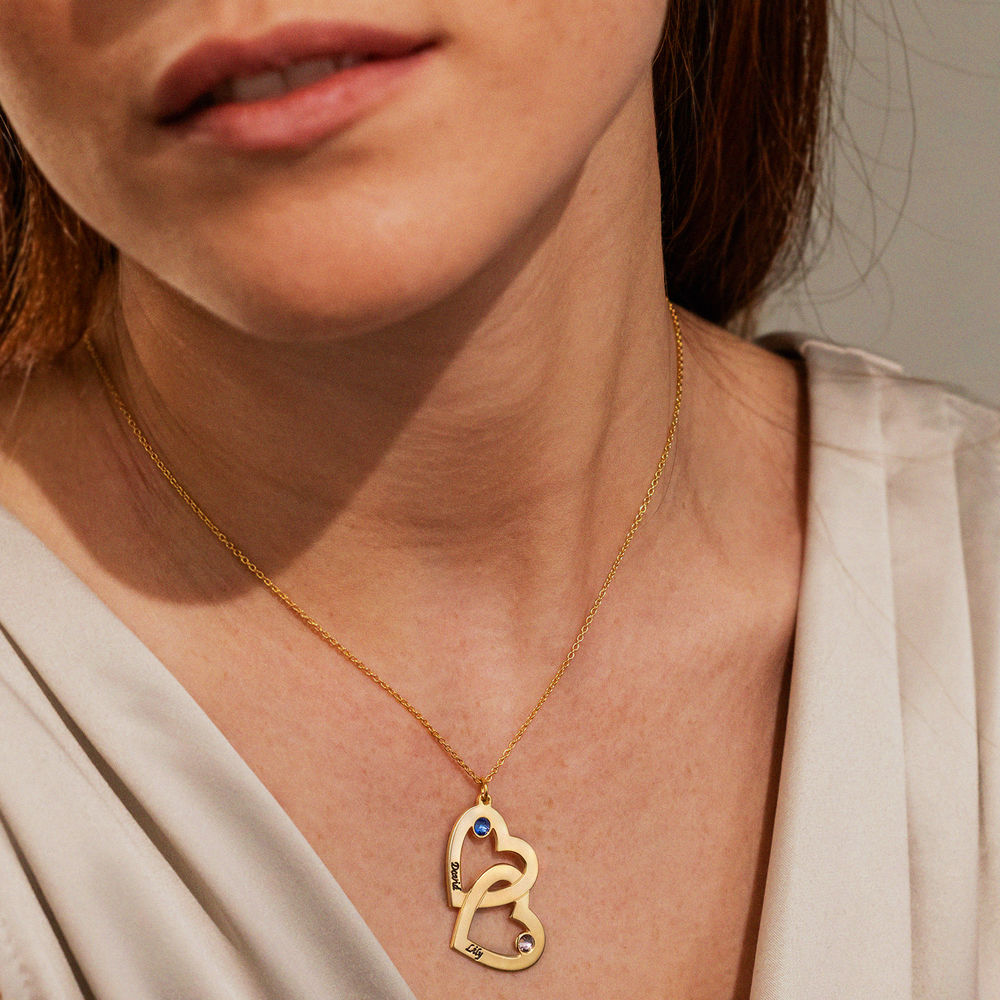 Hjerte i hjerte halskæde med månedssten i forgyldt sølv - 2