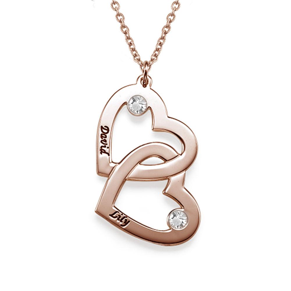 Hjerte i hjerte halskæde med månedssten i rosaforgyldt sølv - 1