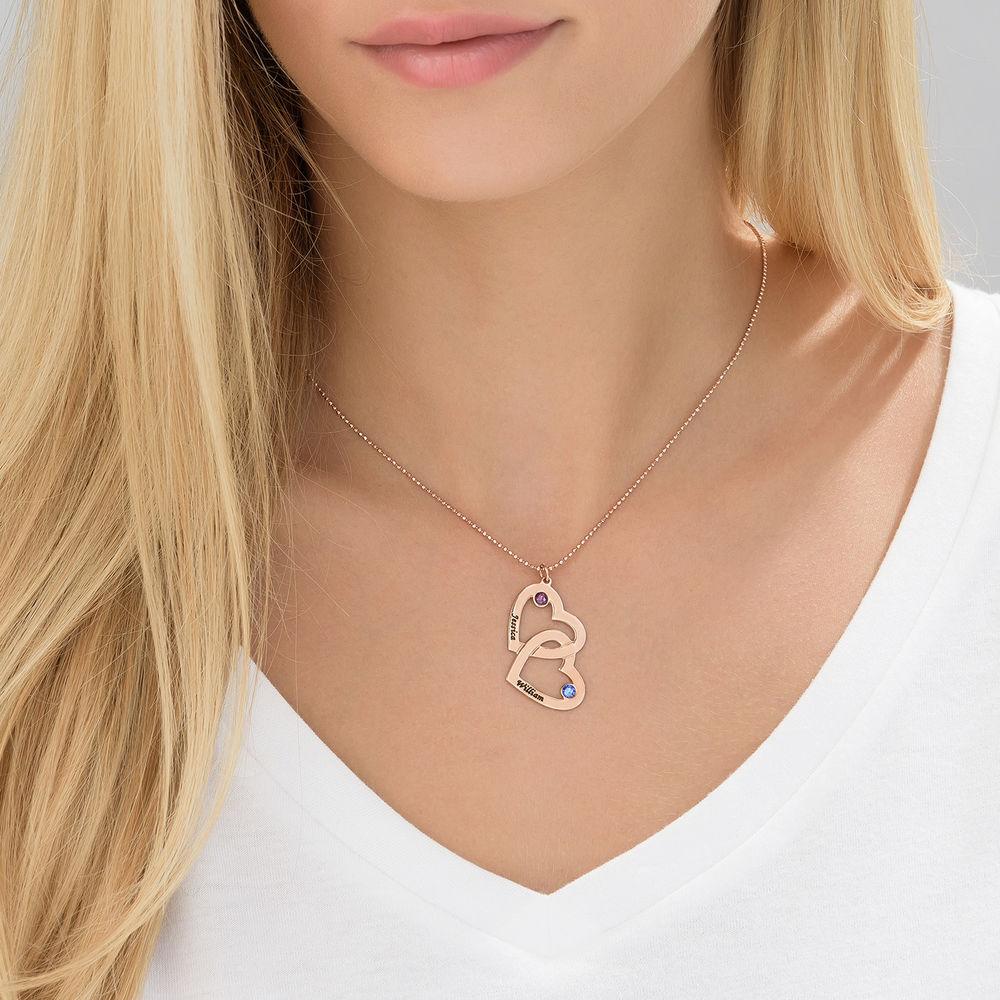 Hjerte i hjerte halskæde med månedssten i rosaforgyldt sølv - 2