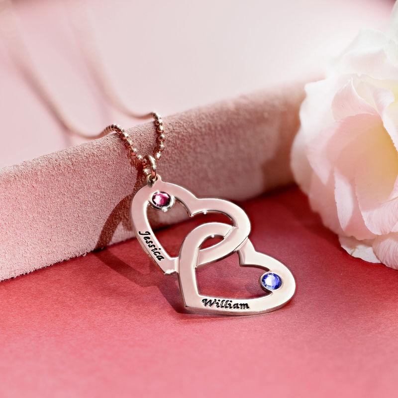 Hjerte i hjerte halskæde med månedssten i rosaforgyldt sølv - 4