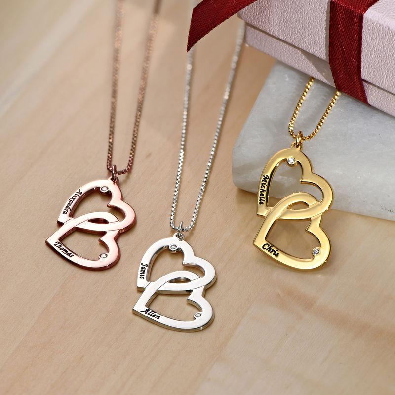 Hjerte-i-Hjertehalskæde med diamant i sølv - 1