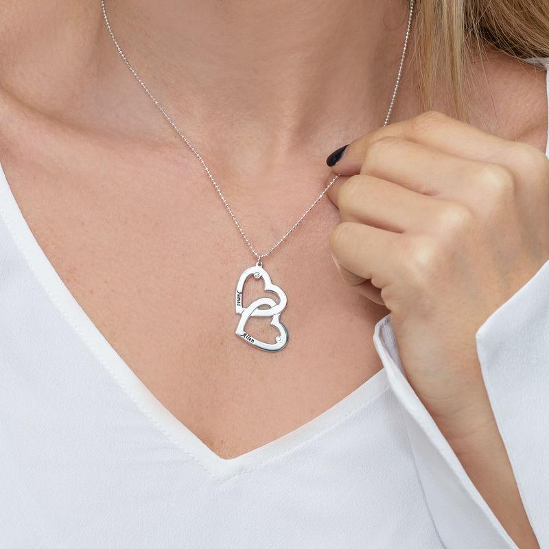 Hjerte-i-Hjertehalskæde med diamant i sølv - 2
