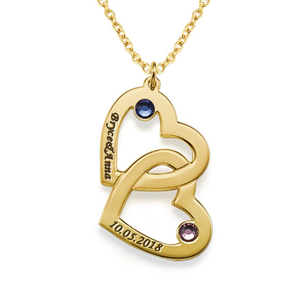 Hjerte i hjerte halskæde med månedssten i guld vermeil