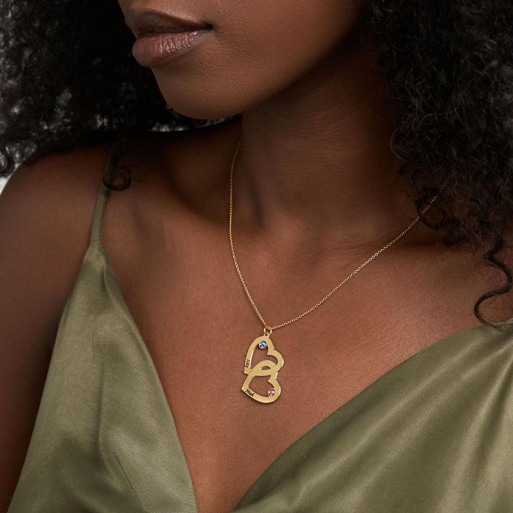 Hjerte i hjerte halskæde med månedssten i guld vermeil - 2