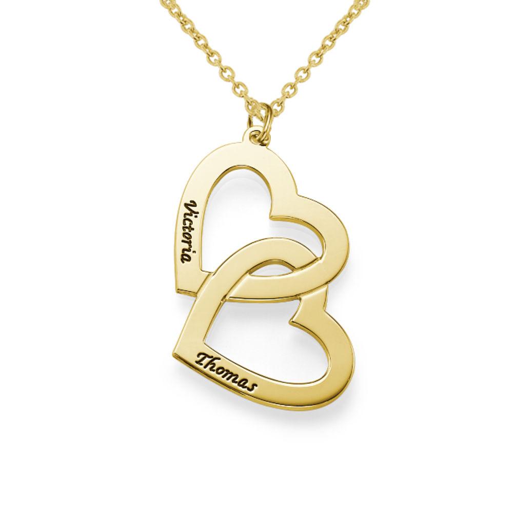 Hjerte-i-hjerte halskæde i forgyldt sølv