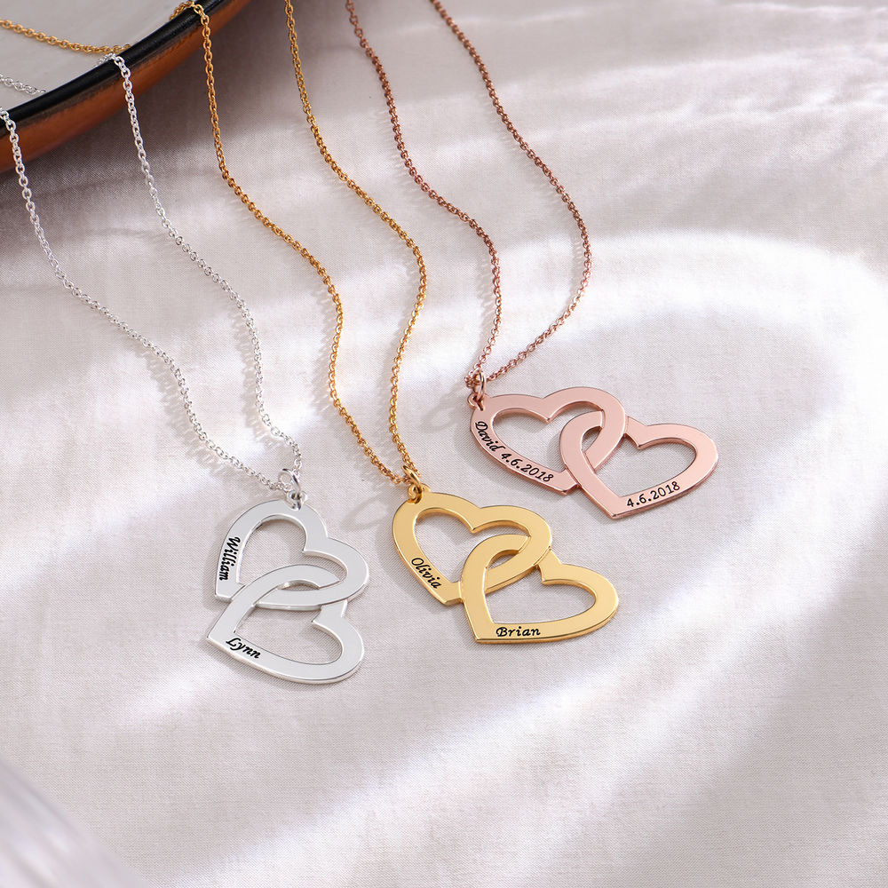 Hjerte-i-hjerte halskæde i forgyldt sølv - 1