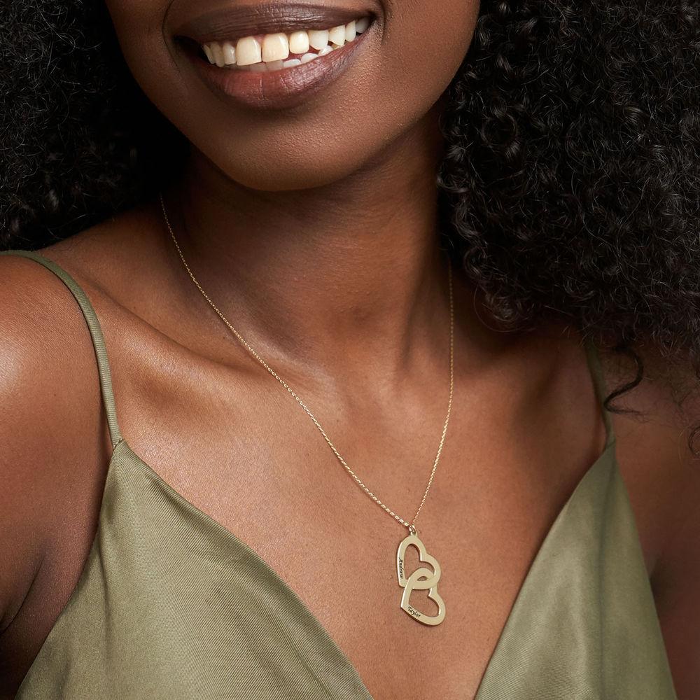 Hjerte-i-hjerte halskæde i 10 karat guld - 1