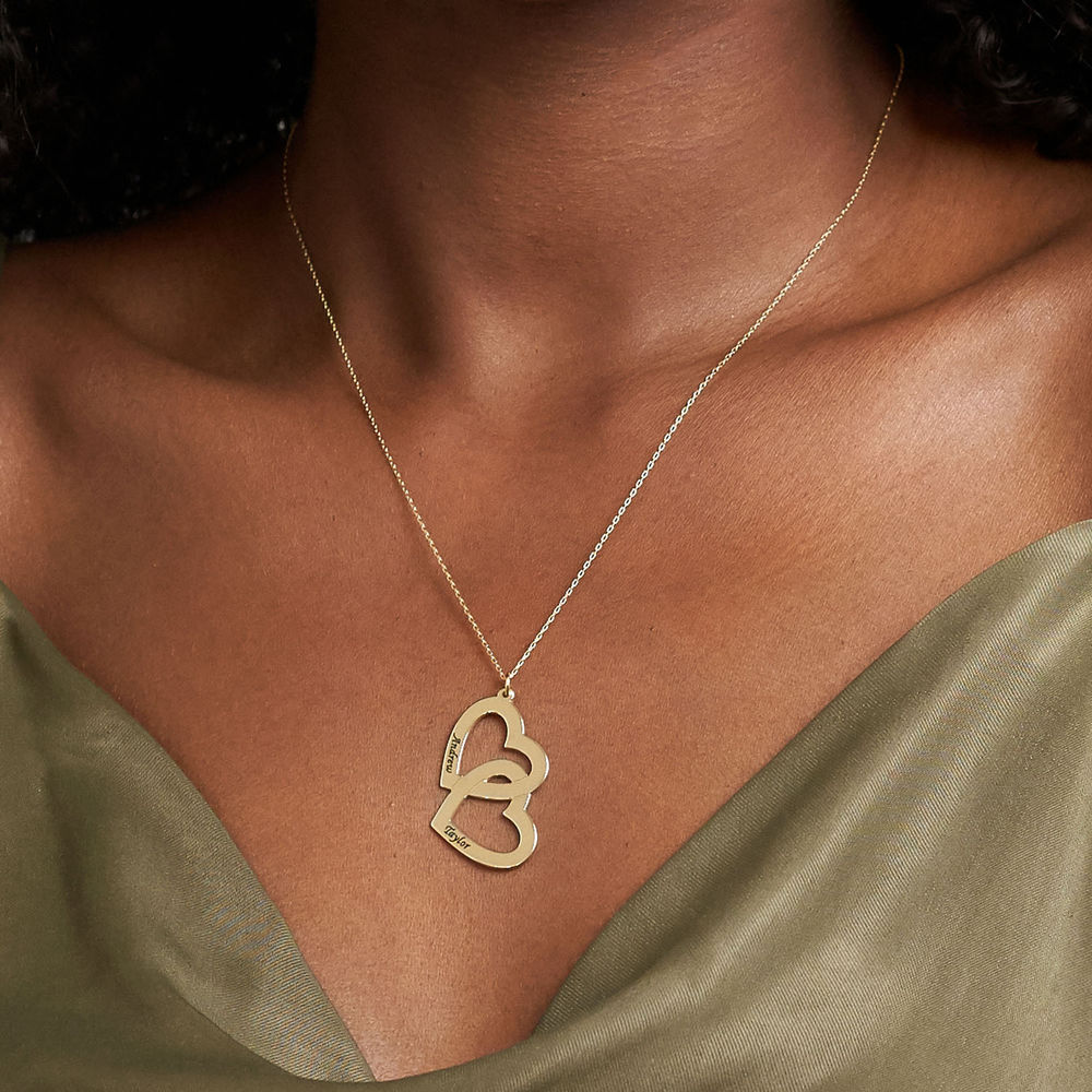 Hjerte-i-hjerte halskæde i 10 karat guld - 2
