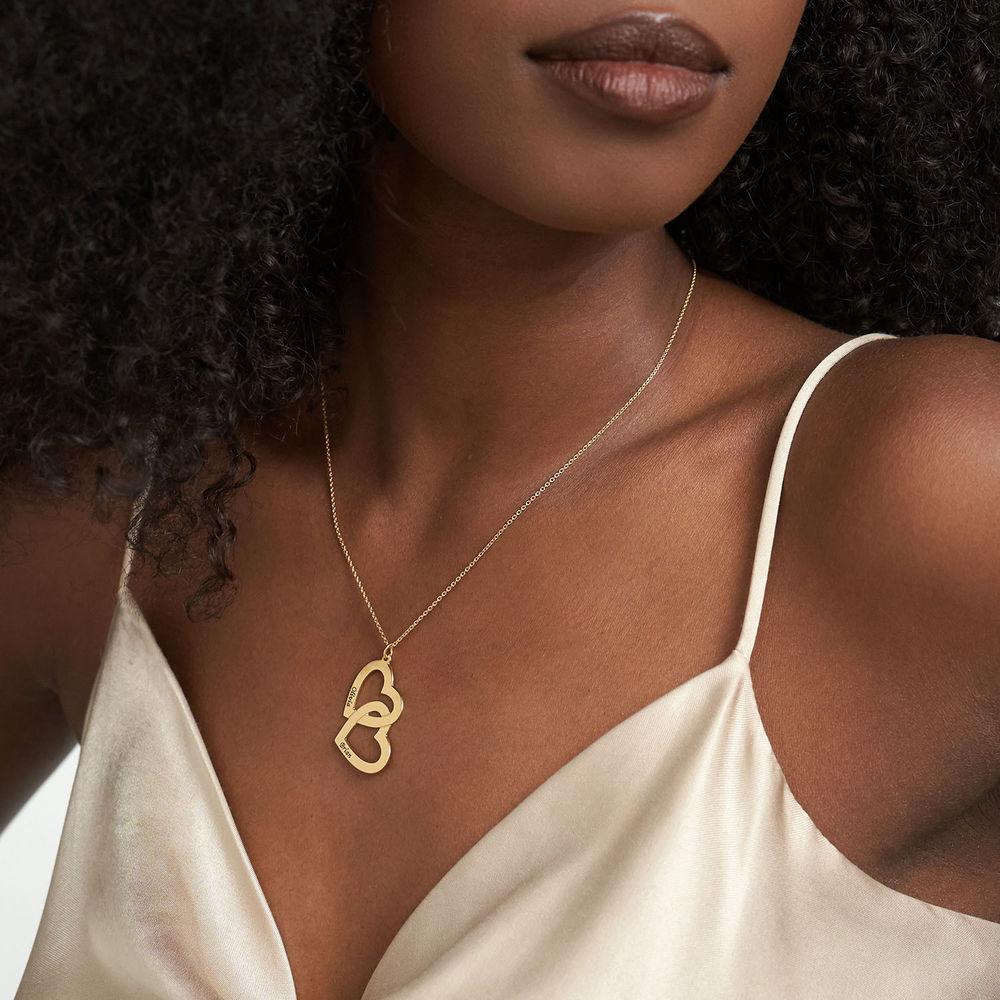 Hjerte-i-hjerte halskæde i guld vermeil - 2