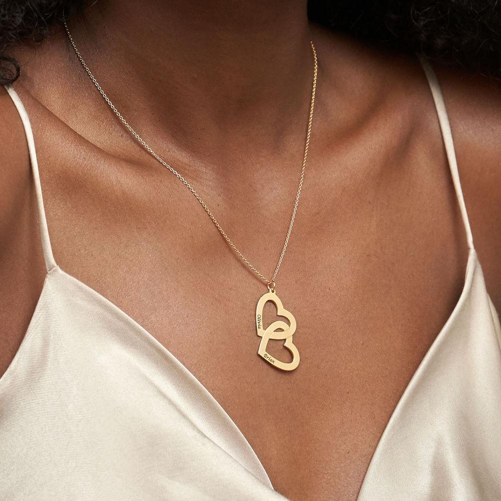 Hjerte-i-hjerte halskæde i guld vermeil - 3
