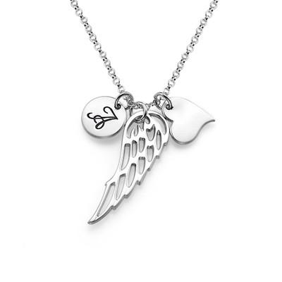 Englevinge halskæde med bogstav og hjerte i sølv