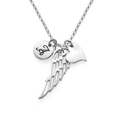 Englevinge halskæde med bogstav og hjerte i sølv - 1