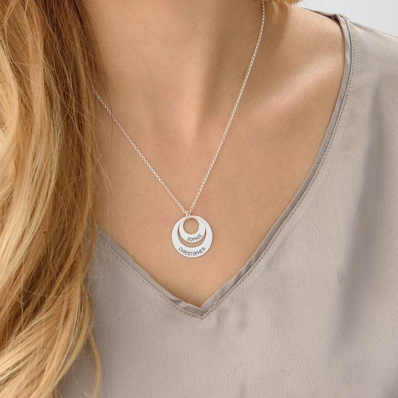 Morsmykke med to cirkler og indgravering i sølv - 4