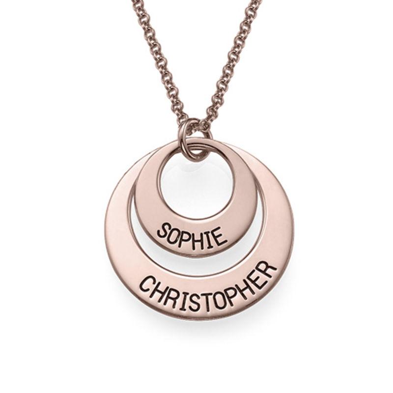 Morsmykke med to cirkler og indgravering i rosaforgyldt sølv