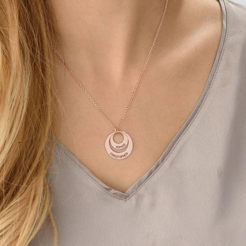 Morsmykke med to cirkler og indgravering i rosaforgyldt sølv - 4