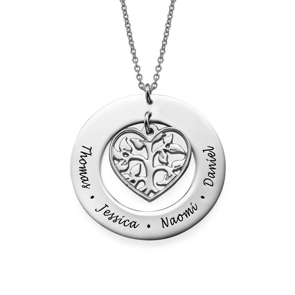 Livets træ halskæde med hjerte i sølv