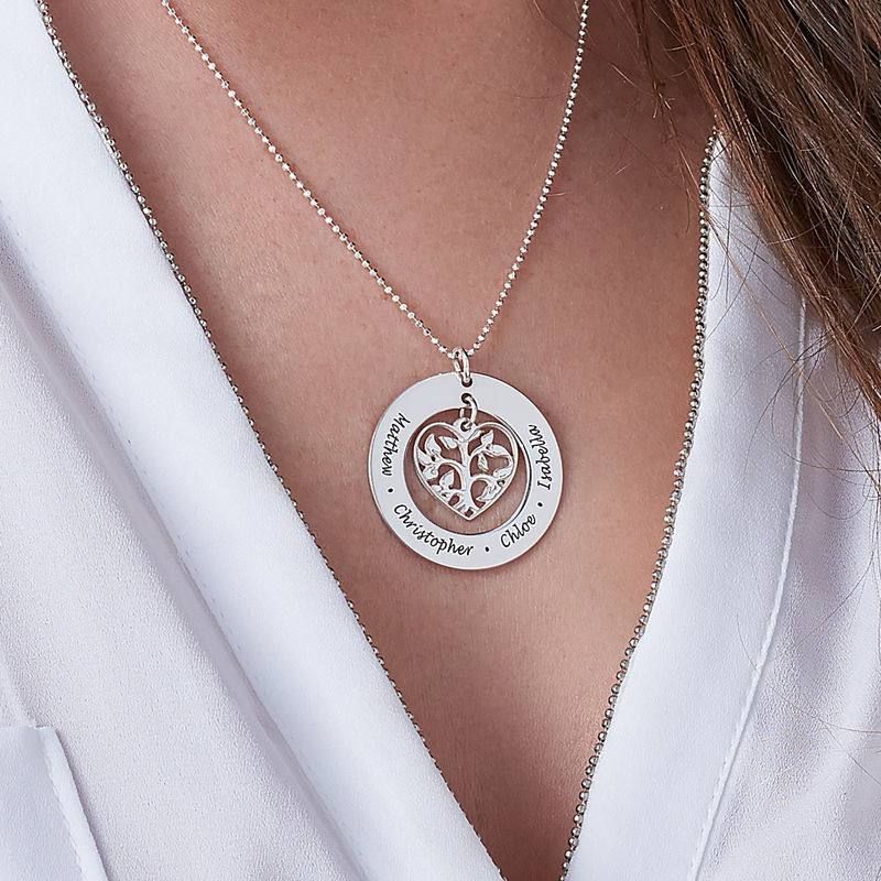 Livets træ halskæde med hjerte i sølv - 2
