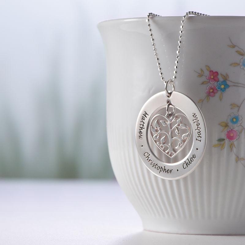 Livets træ halskæde med hjerte i sølv - 3