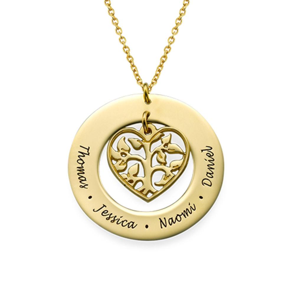 Livets træ halskæde med hjerte i forgyldt sølv