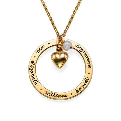 Mor smykke med hjertevedhæng i forgyldt sølv