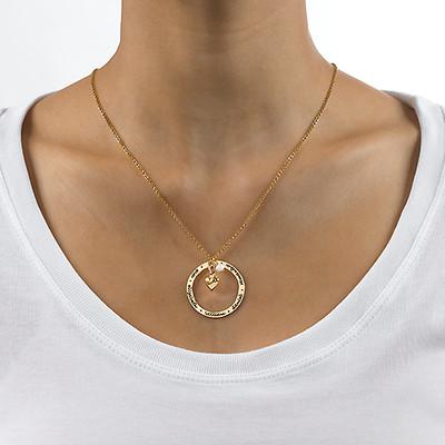 Mor smykke med hjertevedhæng i forgyldt sølv - 1