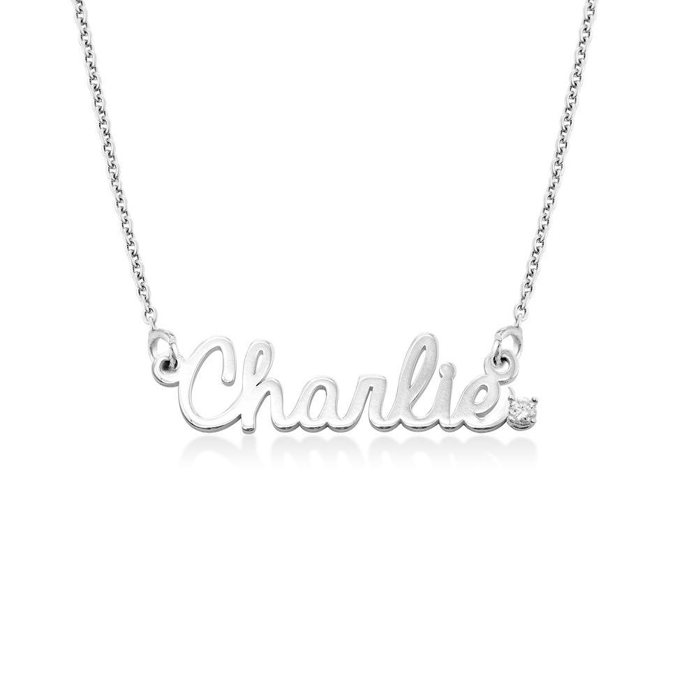 Kursiv halskæde med diamant og navn i sterlingsølv