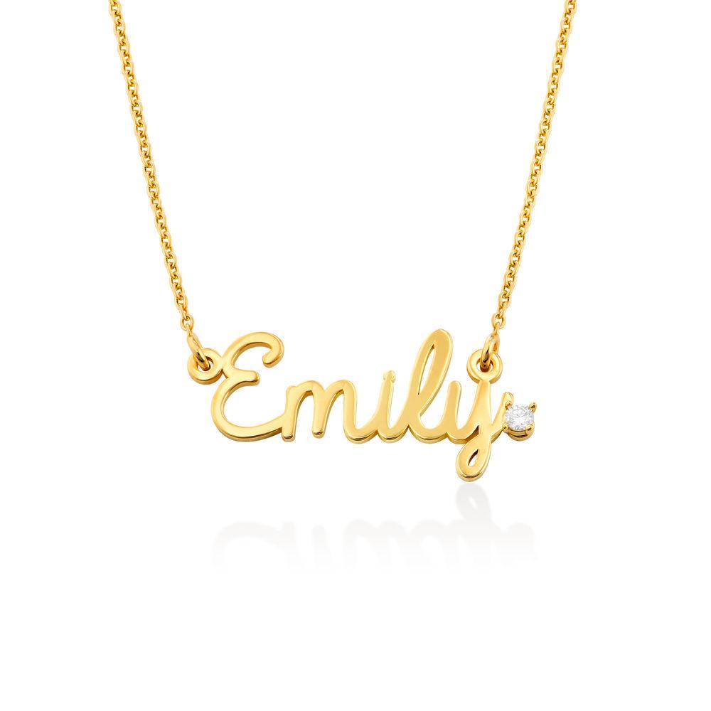 Kursiv halskæde med diamant og navn i guld vermeil