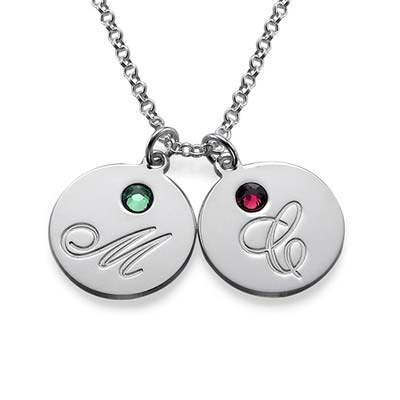 Rund halskæde med bogstav vedhæng og fødselssten i sølv