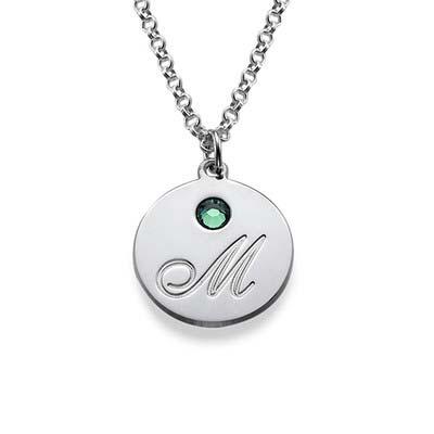 Rund halskæde med bogstav vedhæng og fødselssten i sølv - 1