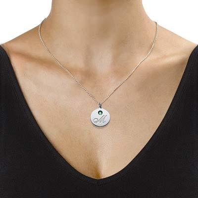 Rund halskæde med bogstav vedhæng og fødselssten i sølv - 2