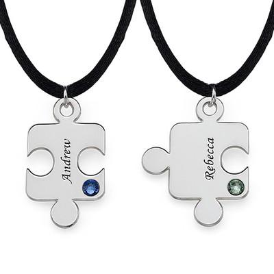 Puslebrik-halskæde for Par med Månedsten